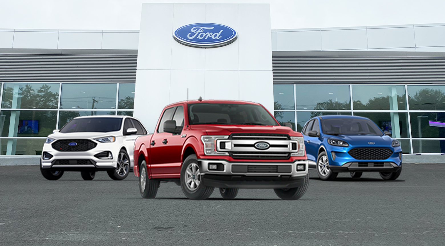 Ford lineup outside the dealership