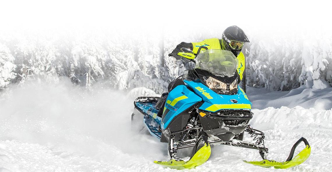 blue Ski-Doo® Renegade on snow