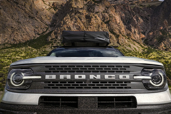 Close up of the front end of a 2021 Ford Bronco Sport